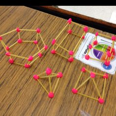 3D Geometric shapes made with dry spaghetti and play dough.... Great to explain edges and vertices! .