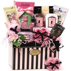 "$69.99-$69.99 Baby This luxurious gift is ""Dressed to Impress"" with stylish spa products and decadent gourmet treats! Pamper your diva with Lightly Scented Floral Bath and Body Shower Gel, Moisturizing Body Lotion, Exfoliating Body Scrub, Soothing Bath Crystals, Pink Rose Shaped Soaps, and Tealight Candles to make her personal spa bath time extra special. Indulge her sense of good taste with Cin ..."