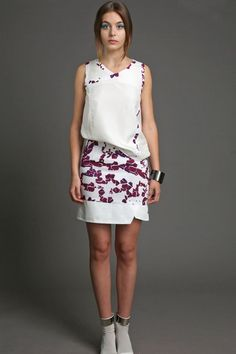 available at www.elainemcgovern.com Purple and white print viscose skirt with white cotton panels €230