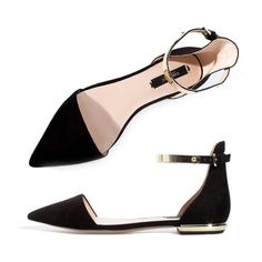 Women's flock pointed toe ankle buckle lace-up flats. I can see Audrey Hepburn rocking these strapped flats.