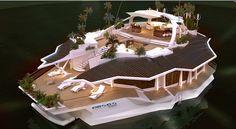 """Das neue schwimmende Design-Objekt der österreichischen Firma Orsos verbindet die Vorteile einer Traumvilla mit denen einer Luxusjacht. Einen Motor hat das """"Insel-Boot"""" allerdings nicht, doch mit Z..."""