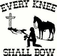 Cowboy kneeling at cross praying cowgirl with mountain for Cowboy silhouette tattoo