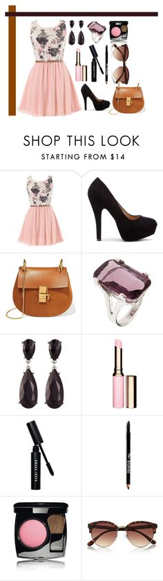 """Untitled #200"" by romi-kella on Polyvore featuring Chloé, Kenneth Jay Lane, Clarins, Bobbi Brown Cosmetics, Lord & Taylor, Chanel and River Island"