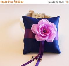 Royal Blue Purple Lavender Ring Pillow Ring Pillow by LADogStore