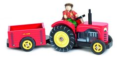 Shiny red tractor and detachable trailer includes Bertie the Budkin farmer. D:100mm H:130mm L:330mm Not suitable for children under 3 years of age.