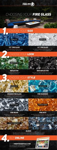 There are many types of fire glass. Use this visual infographic guide to learn about the different shapes sizes and kinds of fire pit glass and how to choose the fire glass that is perfect for your fire pit or project. Glass Fire Pit, Fire Pit Ring, Diy Fire Pit, Fire Pit Backyard, Fire Pits, Outdoor Fire, Outdoor Living, Fire Pit Essentials, Types Of Fire
