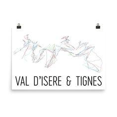 Val d'Isere and Tignes Ski Map Art Val d'Isere