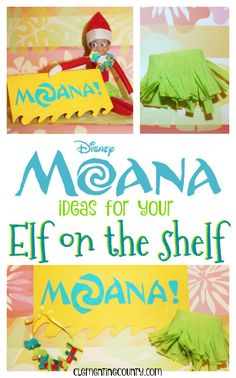 If your Elf on the Shelf loves Moana, try a grass skirt, flower lei, and a fun gift!