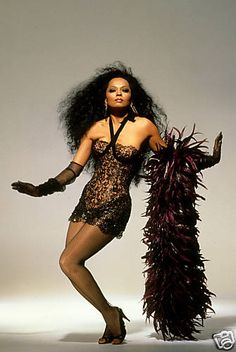 Ms. Diana Ross, in SexY Black Lace mini and feathEr StoLe