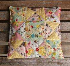 Riley Blake Designs Sidewalks Flannel Seat Cushion by Fabric Mutt Diy Cushion, Cushion Fabric, Cushions To Make, Seat Cushions, Beach Fabric, Pillow Fight, Pillow Talk, Patchwork Pillow, Sewing Pillows