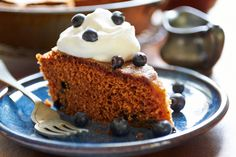 Gingerbread Cake with Blueberries.  ☀CQ #sweets #treats #desserts