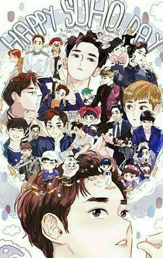 Happy birthday to our beloved leader Suho! Chanbaek, Exo Ot12, Kaisoo, Kpop Exo, Exo Birthdays, Exo Cartoon, Exo Fanart, Exo Anime, Chanyeol Baekhyun
