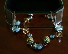 Copper and Blue Luster Beaded Necklace with Chain