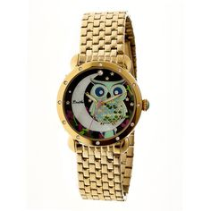 Bertha Ashley Black Owl and Moon Mother of Pearl Dial Gold-tone Ladies... ($88) ❤ liked on Polyvore featuring jewelry, watches, analog watches, stainless steel watches, water resistant watches, dress watches i dress watch