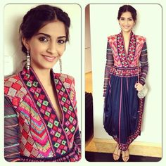 The fashionista Sonam Kapoor was spotted looking gorgeous in various occasions during the promotion of her movie 'Bhaag Milkha Bhaag'. Which look do . Indian Attire, Indian Ethnic Wear, Ethnic Style, Asian Style, Diva Fashion, Asian Fashion, Fashion Ideas, Ethnic Fashion, Punk Fashion