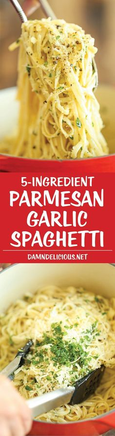 Parmesan Garlic Spaghetti - 5 ingredients. 20 minutes. The perfect dinner for busy nights! #vegetarianrecipes #recipes #recipe
