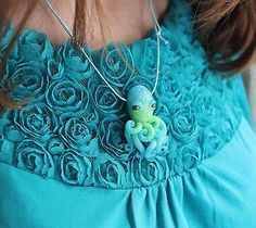 Blue green octopus / pendant necklace jewelry / handmade polymer clay