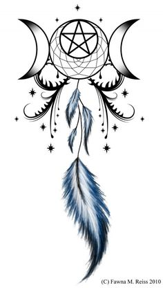 Tattoo with triple goddess and dream catcher entwined Atrapasueños Tattoo, Wicca Tattoo, Tattoo Hals, Tattoo Moon, Tattoo Feather, Pentacle Tattoo, Tattoo Free, Tattoo Forearm, Indian Feather Tattoos