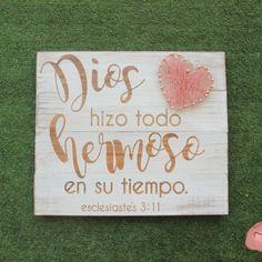 """Letrero """"Eclesiastes 3:11"""" con Corazón de Hilorama"""