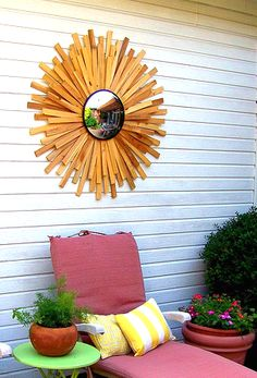 Patio Perfection! DIY large outdoor starburst convex mirror
