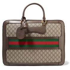 Gucci Echo small leather-trimmed coated-canvas suitcase (36.100.005 IDR) ❤ liked on Polyvore featuring bags and luggage