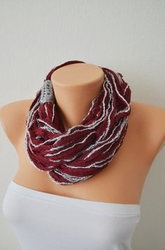 ACCESSORIESFOREVER Women Winter Cold Fashion Floral Infinity Loop Scarf Orange Brown