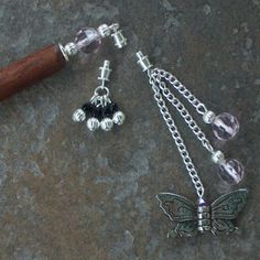 hair stick with beads and butterfly