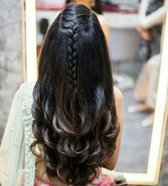 Indian Bridal Wedding Hairstyles for Short to Long Hair - Hair Styles 2019 Open Hairstyles, Wedding Hairstyles For Long Hair, Hairstyles Haircuts, Wedding Hairdos, Hairstyle For Indian Wedding, Long Indian Hair, French Plait Hairstyles, Braided Hairstyles For Long Hair, Indian Hair Cuts