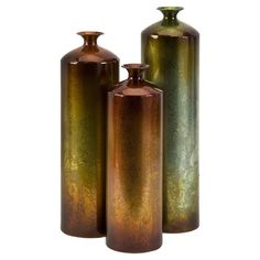 Set of three wrought iron bottles with a fired finish.   Product: Small, medium and large bottle dcorConstructi...
