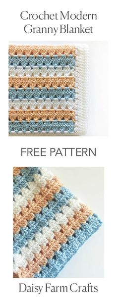 FREE PATTERN - Crochet Modern Granny Blanket in Peach and Blue