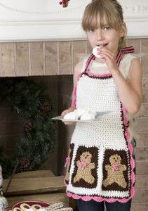 Gingerbread Man Christmas Apron - Let your daughter help out with the Christmas cooking this year by working up this Gingerbread Man Christmas Apron for her.