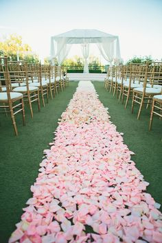 #rose-petals, #aisle-decor, #ombre  Photography: onelove photography - onelove-photo.com  View entire slideshow: Ombre Wedding Details on http://www.stylemepretty.com/collection/1517/