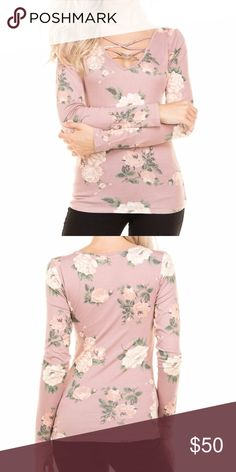 Pink floral top! Long sleeve pink floral top with crisscross detailing on the chest. The color is slightly darker than shown on the model. Looks great with jeans or leggings for the perfect fall look! 💕 Tops Tees - Long Sleeve