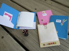 American Girl DIY school supplies - these would be perfect for art pads the clipboard  and creative writing journals