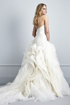 Same Pallas Couture wedding gown, different view. Oh, those cascading ruffles. So pretty.