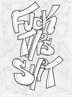 Swear Word Coloring Book, Quote Coloring Pages, Printable Adult Coloring Pages, Coloring Book Art, Animal Coloring Pages, Coloring Pages For Kids, Colouring Sheets, Mandala, Paisley