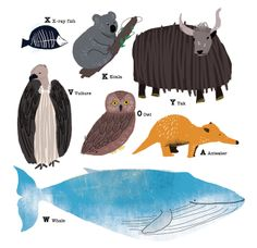 animal alphabet chart, crocodile, bear,whale,vulture,yak,owl,hippo,giraffe,zebra,koala ,monkey,lion,dear