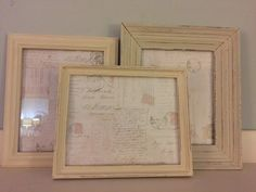 Check out this item in my Etsy shop https://www.etsy.com/listing/260669944/old-white-set-of-3-picture-frames