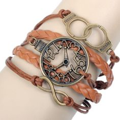 Cheap Retro Clock Handcuffs Infinity Bracelet For Big Sale!Retro Clock Handcuffs Infinity Bracelet represent our firm love forever! It is a romantic gift for her! Bracelets Wrap En Cuir, Cute Bracelets, Layered Bracelets, Fashion Bracelets, Beaded Bracelets, Infinity Bracelets, Infinity Jewelry, Charm Bracelets, Fashion Jewelry