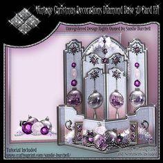 Vintage Christmas Decorations Diamond Base 3D Card Kit