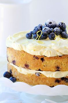 Blueberry Zucchini Cake with Lemon Buttercream.I made this and it was delicious! The lemon buttercream was great! It was not quite enough to completely frost the layered cake. Blueberry Cake, Blueberry Recipes, Lemon Blueberry Zucchini Cake Recipe, Banana Zucchini Cake, Zucchini Desserts, Sweet Recipes, Cake Recipes, Dessert Recipes, Lemon Buttercream