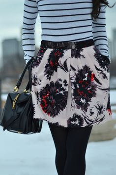 floral skirt & stripes // The View From 5 ft. 2
