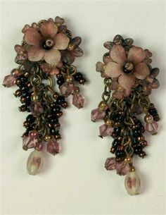 "Chocolate Raspberry Earrings: Her exquisite hand-formed posies marry with opalescent beads and glass baubles. USA. 2"". - $29.95"