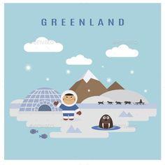 Buy Greenland Landscape by saransk on GraphicRiver. Greenland landscape flat vector: eskimo man and walrus Nature Illustration, Landscape Illustration, Carnival Legend, Greenland Travel, Vector Design, Graphic Design, Nature Vector, Vector Pattern, Vector Graphics