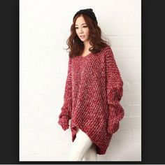 Oversize loose sweater with irregular hem. Sweater in an excellent condition. It looks like after regular wash. One size. Korean Fashion. Sweaters V-Necks