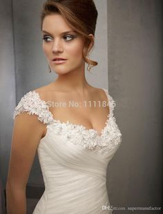Elegant Princess Capped Sleeves Wedding Dresses 2015 Sweetheart A-line Appliques Bridal Gowns Court Train Wedding Gowns