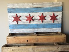 Weathered Chicago Flag - 3D, Recycled, Pallet Wood, Vintage, Rustic, Weathered, Chicago Flag Art, Home Decor, Handmade, Wooden, Wall Art, by BgRestoration on Etsy https://www.etsy.com/listing/241959693/weathered-chicago-flag-3d-recycled