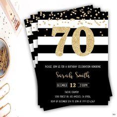 70th Birthday Invitation Gold Glitter Glam Black And White Stripe