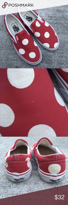 Polka Dot Slip On Vans Red and white color. Great condition (worn once). Minor defective markings that came with shoes when purchased at the Vans store (as seen in picture 2 and 3), may come off in the wash but I never tried. Slip on style. Limited edition. Bottom soles look brand new. Vans Shoes Sneakers