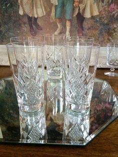 CZECH BOHEMIA Elegant Crystal Cut Glass Tall Tumblers Set of 5